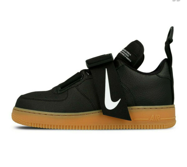 Nike Air Force 1 Utility Low AF1 BLACK GUM BROWN WHITE BOOT AO1531-002 sz 8-13