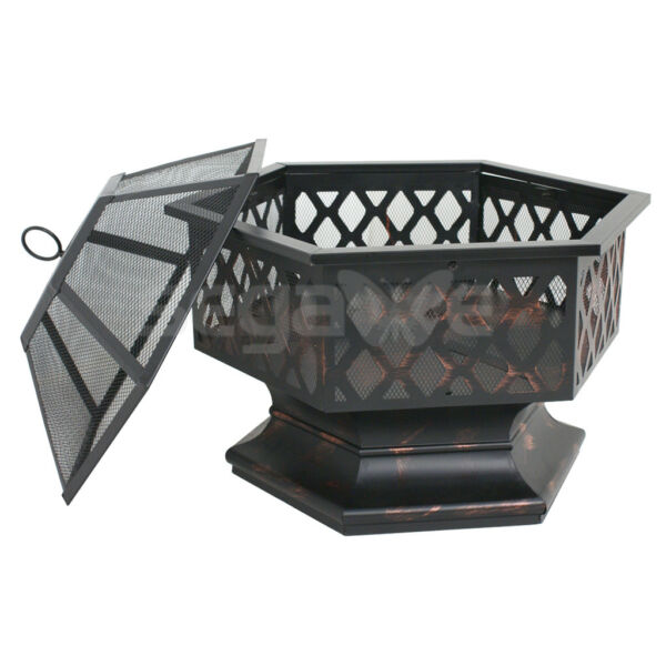 Outdoor Fire Pit Backyard Fireplace Campfire Patio Wood Burning Hex Shaped Bowl