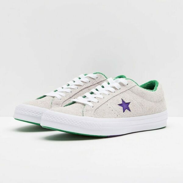 Converse Mens One Star Ox Grand Slam Suede 160592C White/Court Purple/Green
