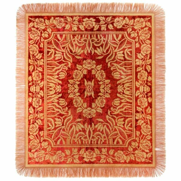 Art Nouveau Edwardian Red Floral Rose Velvet Fringed Bedspread  Throw c.1910's