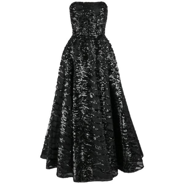 HAUTE COUTURE 1950s Black Sequin Ball Gown Evening Theater Opera Party Dress