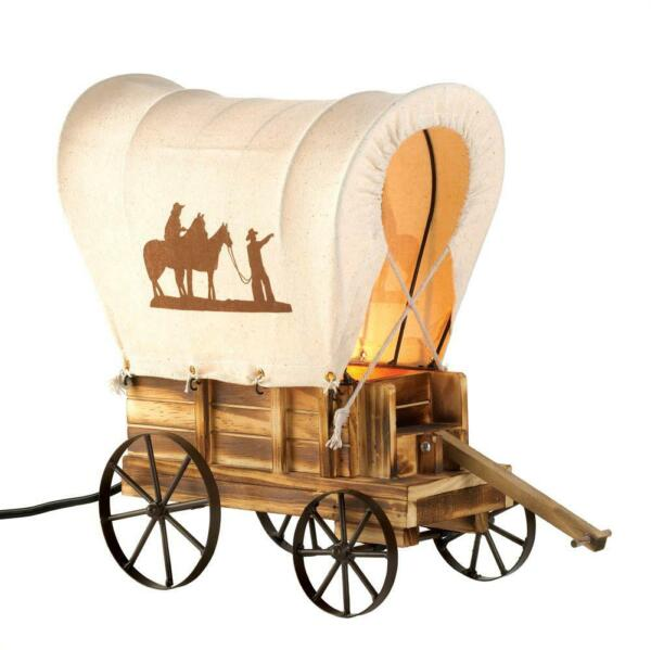 Western Wagon Table Lamp Country Cover Wood Light Texas Stagecoach Cowboy Horse $55.99