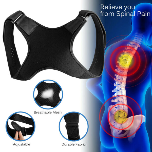 Adjustable Back Posture Corrector Shoulder Straight Support Brace Belt Men Women