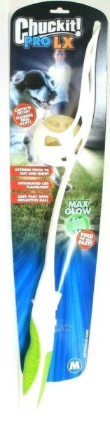 Chuckit Pro LX Max Glow Integrated LED Flashlight No Slobber Med Catch'N Fetch