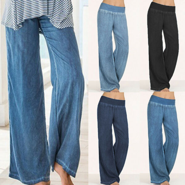 Women's Elastic Waisted Wide Leg Jeans Pants Denim Jeans Palazzo Loose Trousers