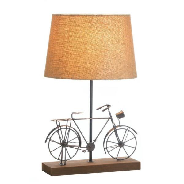 New Old Fashion Bicycle Table Lamp Light Iron Home Decor Shade Bike Wood Linen $63.99