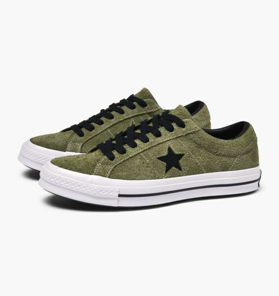 Converse Mens One Star 74 Ox Suede 163249C Field Surplus/Black/White 9 10 10.5