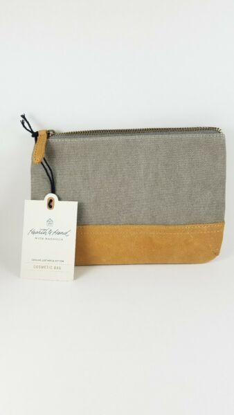 Hearth & Hand With Magnolia Canvas & Leather Cosmetic Bag.. New