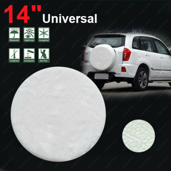 14quot; DIY trailer Spare tire tyre Wheel Cover Pure White Heavy Duty Vinyl Material $22.99