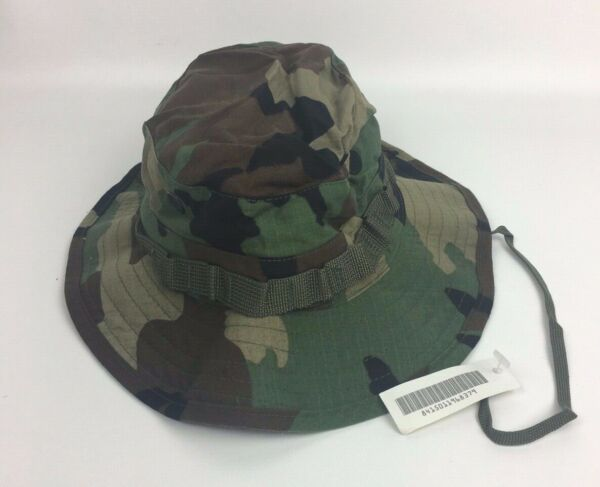 New NWT Genuine US Military Woodland Camouflage Boonie Sun Hat Type III Size 7