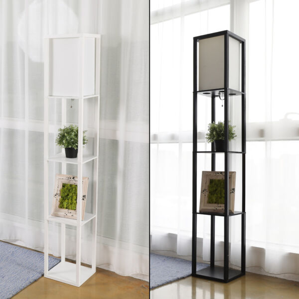 Modern Shelf Floor Lamp Lighting Home Living Room Bedroom w Storage Shelves