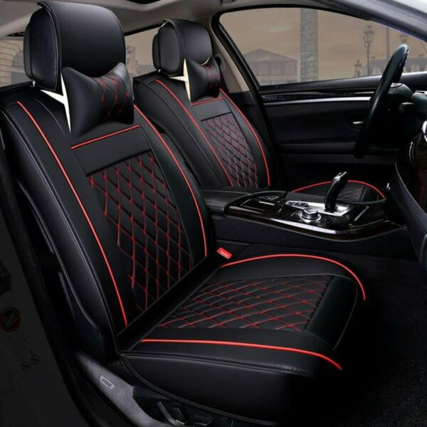 Universal PU Leather 5-Seats SUV Front & Rear Car Seat Cover Cushion Full Set