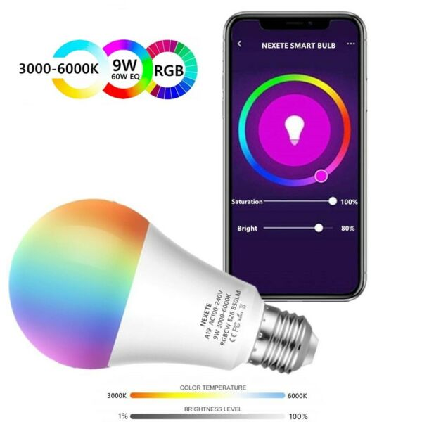 Wifi Smart LED light Bulb 9W(60W) A19 850LM RGBW Dimmable for AlexaGoogle Home