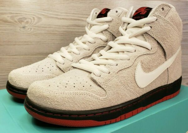 Nike SB Dunk High TRD QS Sheep Wool Summit White Black Red 881758-110 Size 10.5