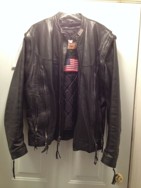 HARLEY DAVIDSON WILLIE G LEATHER MOTORCYCLE JACKET VEST COMBO SIZE L USA MADE
