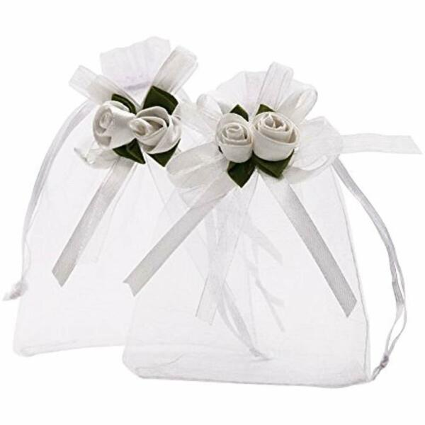 3.9x4.7 Inches Sheer Organza Wedding Favor Gift Bags White Rose Drawstring Pack