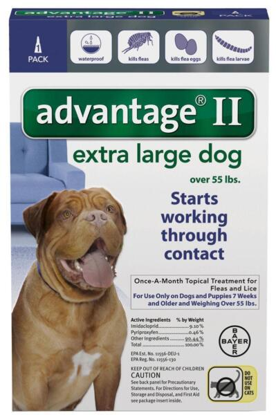 Advantage II Flea X-Large Dogs 55+ lbs ONE (1) DOSE + READ HERE ABOUT FAKES