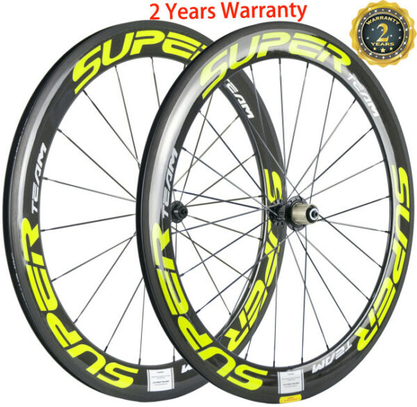 60mm Carbon Wheels Ceramic Bearing Carbon Cycle Wheelset 700C Road Bike Clincher GBP 357.00