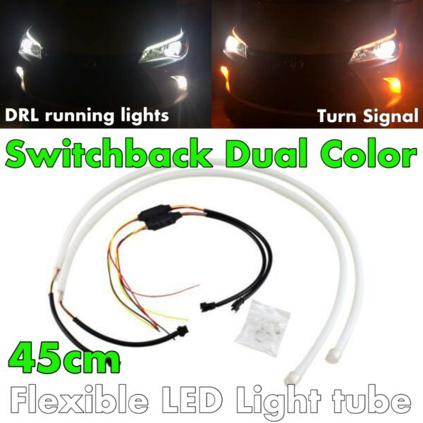 45cm Switchback Universal Rubber LED DRL Flexible Turn Signal For Sc Toyo JP