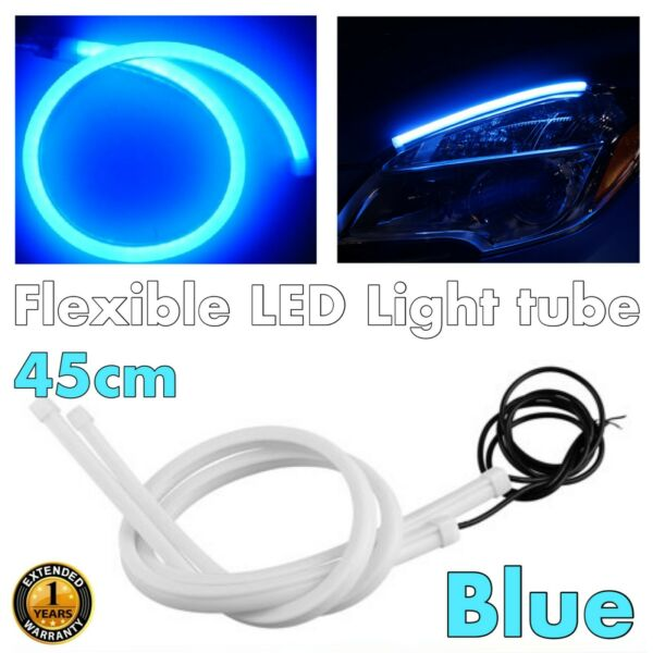 45cm Blue Universal Rubber LED DRL Flexible Daytime Bumper Glow Fog Light JP
