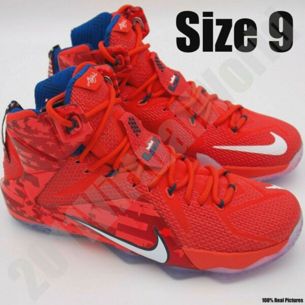 Nike LeBron XII 12 USA 4th of July Men's Basketball Sneakers 684593-616 Size 9