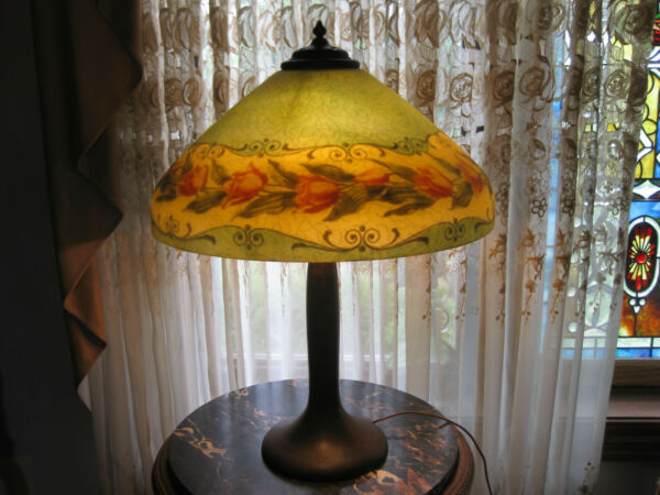 HANDEL REVERSE PAINTED LAMP CHIPPED ICE TULIP DESIGN c.1910SIGNED