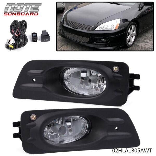 For 2006-2007 Honda Accord 4D Driving Clear Lens Fog Lights Bumper Lamps+Switch