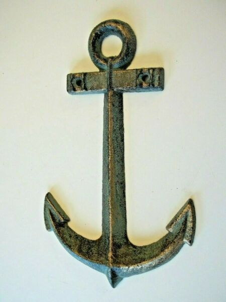 CAST IRON NAUTICAL BOAT ANCHOR WALL DECOR BRASS BLUE GREEN AGED PATINA COLORS  $6.95