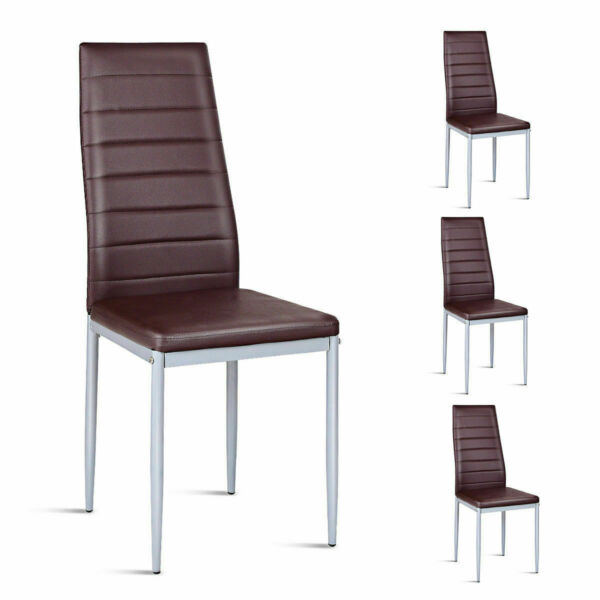 Set of 4 PVC Leather Dining Side Chairs Elegant Design Home Furniture Brown $94.95