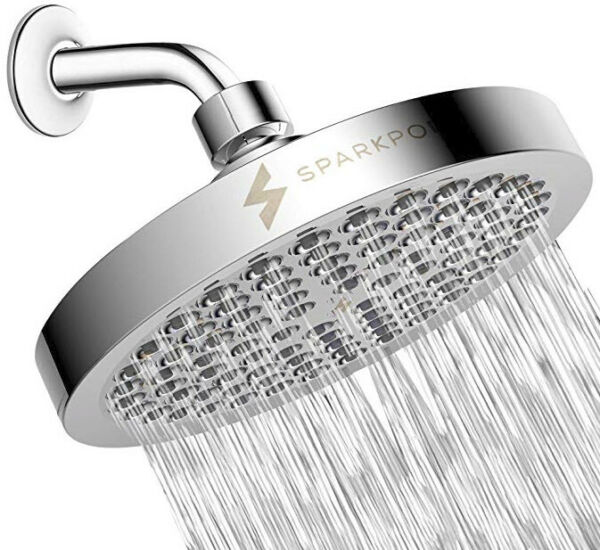 SparkPod High Pressure Rain Shower Head - Luxury Modern Chrome Look - Stands out