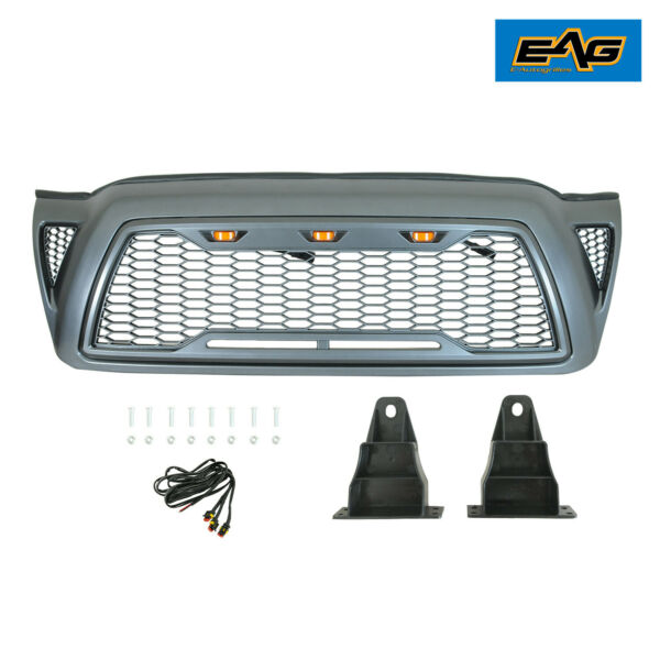 EAG Fit 2005-2011 Toyota Tacoma Grille Grill Packaged Gray W Amber LED Lights