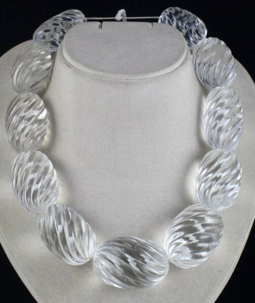 NATURAL WHITE ROCK CRYSTAL QUARTZ CARVED OVAL BEADS 11 PCS 2965 CARATS GEMSTONE