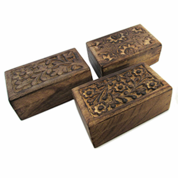 NEW Carved Wood Mini Box Trio Set of 3 Floral Design Wooden Boxes 3x5quot;