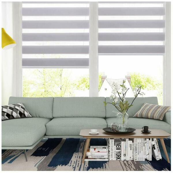Horizontal Window Shade Blind Zebra Dual Roller Blinds CurtainsEasy to Install $19.99