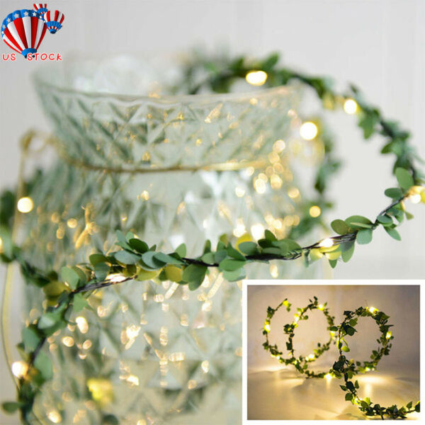 LED Leaves Garland Fairy String Lights Kiving Room Wedding Party Decorations US