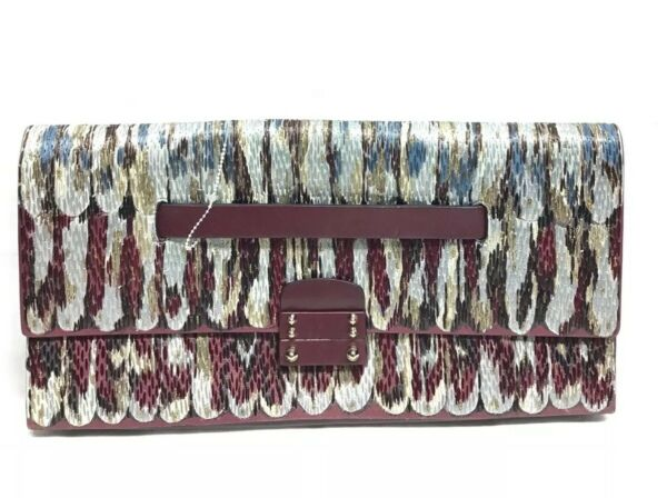 Valentino Garavani Burgundy threaded Multi-color Clutch