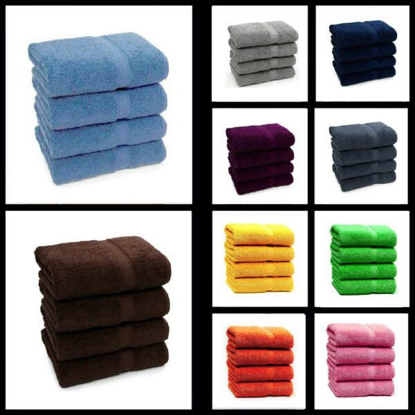 SET OF 2 amp; 4 LUXURY LARGE HAND TOWELS 100% PURE COTTON BEST HAND FEEL BALE SET GBP 11.99