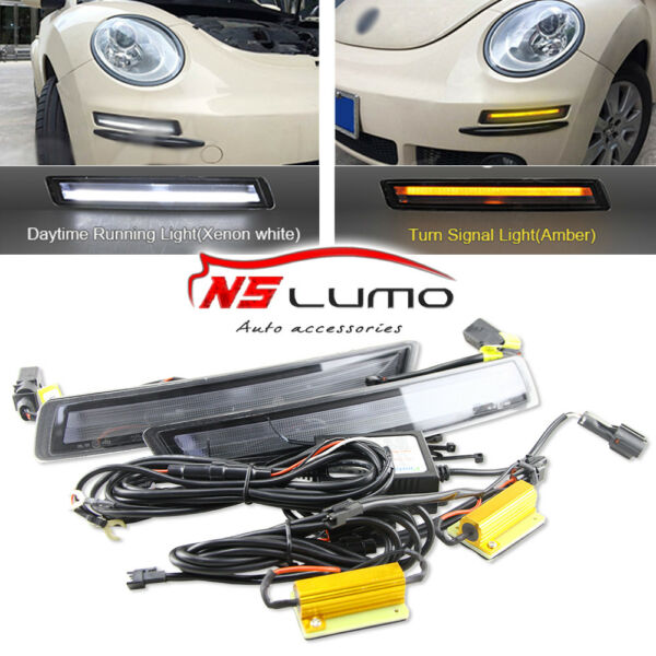 LED Daytime Running Lights DRL+Yellow Turn Signal For VW Volkswagen Beetle 06-10