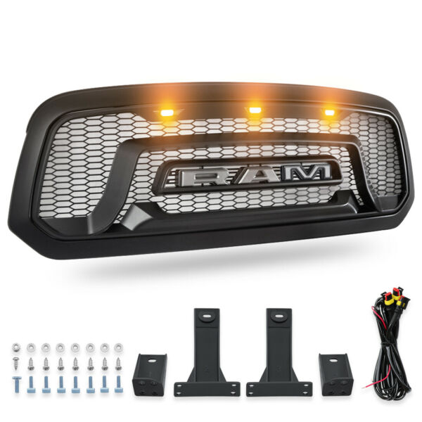 Front Grill Mesh Grille Rebel Style wLED light Fit For 2013-2018 Dodge Ram 1500