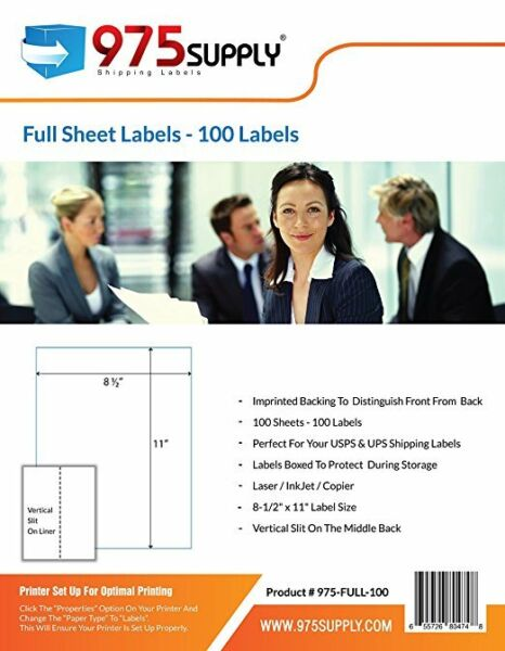 975 Supply Premium Shipping Lables Full Sheet 8.5 x 11 inches 100 LabelsPack