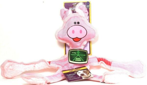 1 Multipet Tuff Enuff Pink Pig Squeaks Rugged Rope Inside Designed To Last Toy