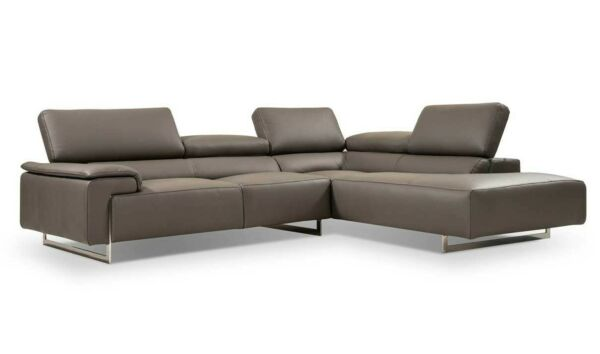 I794 Premium Leather Sectional Sofa in Light Grey