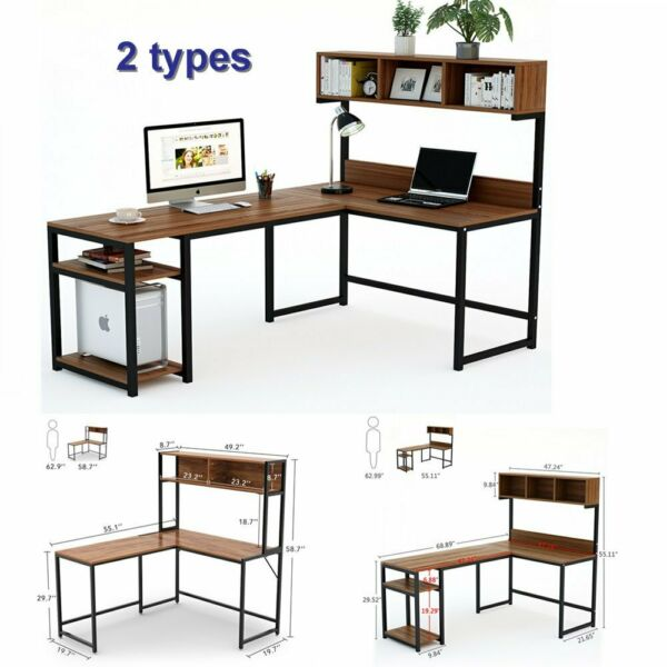 L Shaped Desk with Hutch Computer Office Furniture Home Study Workstation Table