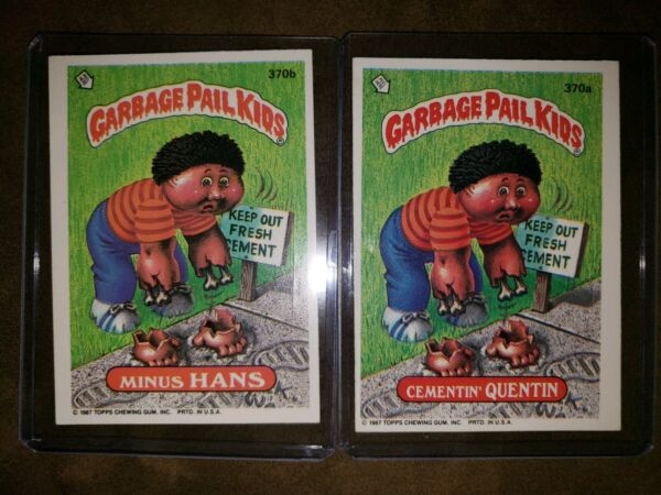 AUTH 1987 Garbage Pail Kids Cards 370a&b Cementin Quentin & Minus Hans MINT COND