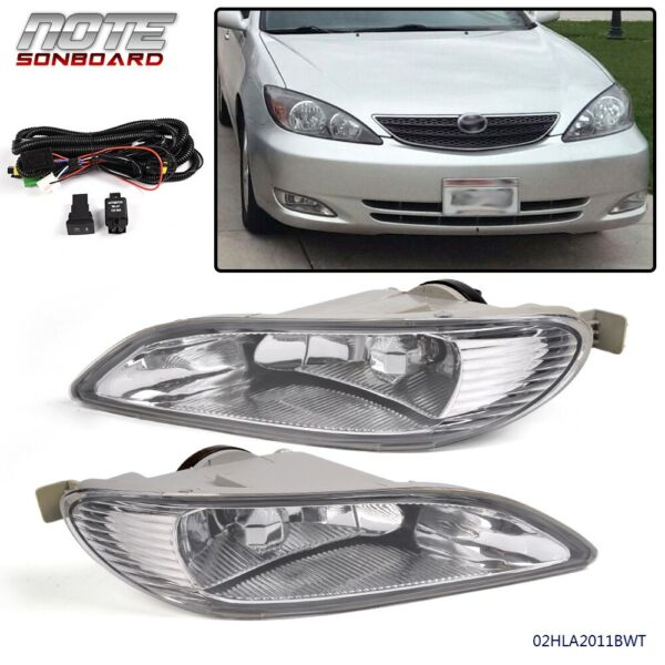 For Toyota 05-08 Corolla 02-04 Camry Clear Bumper Driving Fog Lights + Wiring