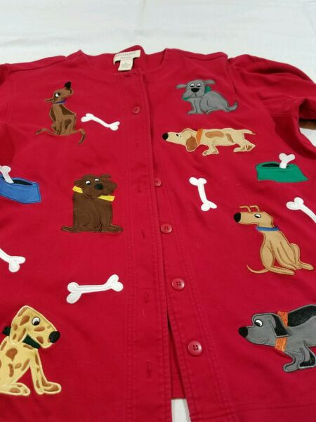 Bechamel petites Red Button Top Dogs Bones 100% Cotton Long Sleeve Petite PL $18.00