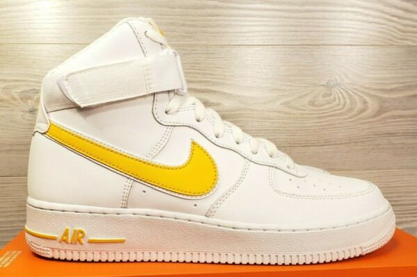 Nike Air Force 1 High 07 White Yellow Retro Fashion Sneakers AT4141-101 Size 9