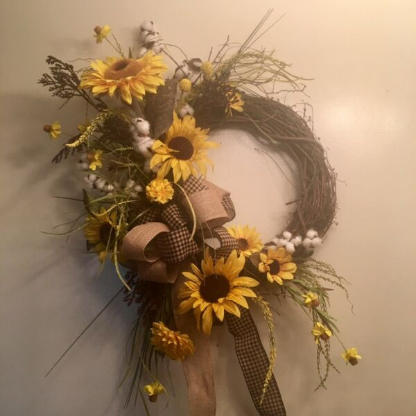 Sunflower Fall Year Round Farmhouse Burlap Wreath Fall Home Decor