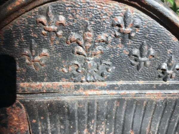 ANTIQUE Fleur-de-Lis CAST IRON FIREPLACE WOOD  COAL BOX GRATE LOG HOLDER INSERT
