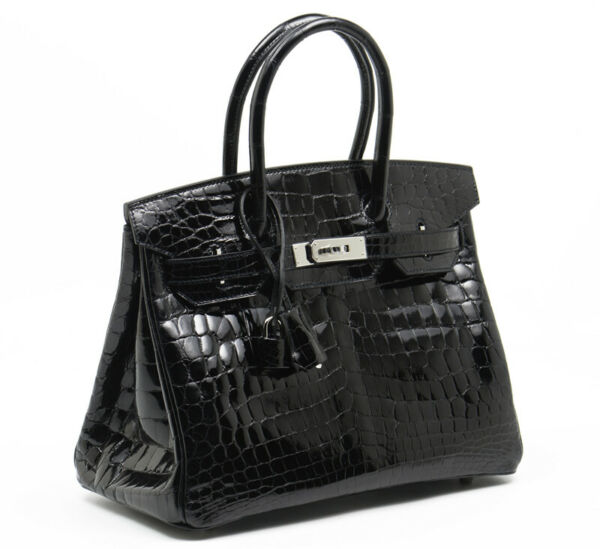 BRAND NEW EXOTIC HERMES BIRKIN 30cm SHINY BLACK CROC CROCODILE PHW BAG HANDBAG